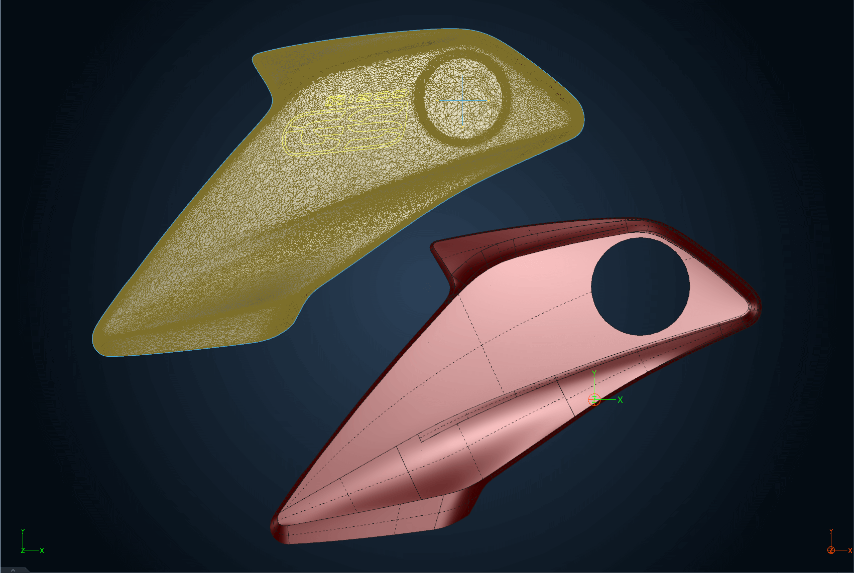 Digitized data and surface model for a motorcycle body part